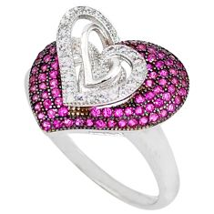 Red ruby quartz white topaz 925 sterling silver heart ring size 6.5 c23720