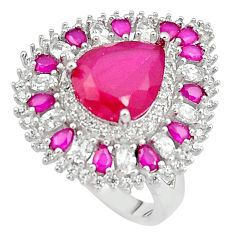 13.41cts red ruby quartz white topaz 925 sterling silver ring size 7.5 c19230