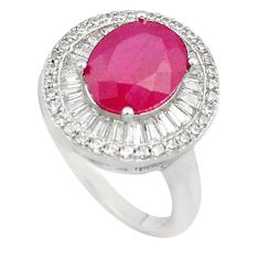 8.03cts red ruby quartz white topaz 925 sterling silver ring size 6.5 c19268