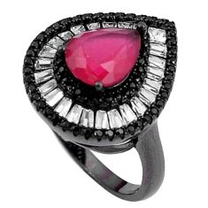 6.53cts red ruby quartz white topaz rhodium 925 silver ring size 7 c20020