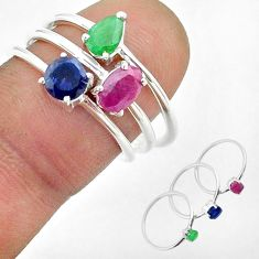 3.00cts red ruby sapphire emerald sterling silver 3 rings jewelry size 7 t50917