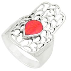 Red sponge coral 925 silver hand of god hamsa ring jewelry size 7 c21646