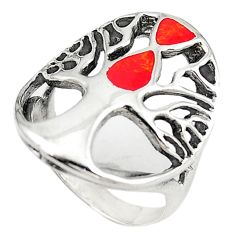 Red sponge coral 925 sterling silver tree of life ring jewelry size 7 c12398