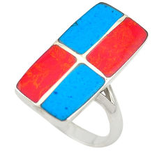 Red sponge coral blue turquoise enamel 925 silver ring size 6 c21941