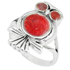 5.48gms red sponge coral enamel 925 silver owl ring jewelry size 6 a88548 c13469