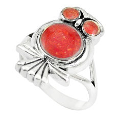 6.02gms red sponge coral enamel 925 silver owl ring jewelry size 7 a88507 c13467