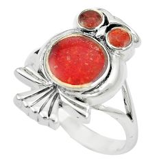 5.69gms red sponge coral enamel 925 silver owl ring jewelry size 7 a88568 c13476