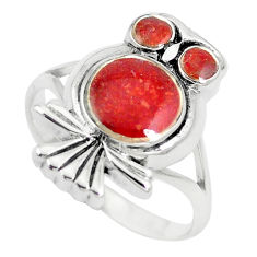 6.02gms red sponge coral enamel 925 silver owl ring jewelry size 8 a88571 c13464