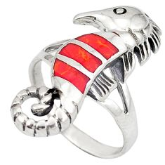 Red sponge coral enamel 925 silver seahorse ring jewelry size 6 c12189