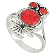 Red sponge coral enamel 925 sterling silver owl ring jewelry size 7.5 c21680