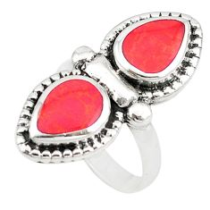 Red sponge coral enamel 925 sterling silver ring jewelry size 6.5 c22336