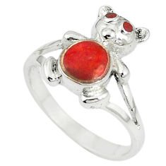 Red sponge coral enamel 925 sterling silver ring jewelry size 6 c12961
