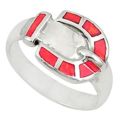 Red sponge coral enamel 925 sterling silver ring jewelry size 7 c21676