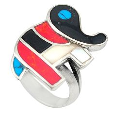 Red sponge coral onyx 925 sterling silver elephant ring size 6.5 c21653