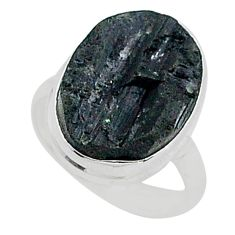 Release negativity black tourmaline raw 925 sterling silver ring size 7 r96650