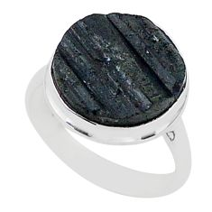 Release negativity black tourmaline raw sterling silver ring size 9 r96647