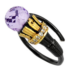 4.55cts rhodium natural amethyst 925 silver gold adjustable ring size 7 r25018