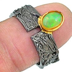 1.31cts rhodium natural ethiopian opal 925 silver 14k gold ring size 7 t10441