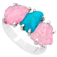 8.73cts rose quartz rough raw turquoise 925 silver ring size 8 t15028