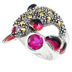 1.58cts ruby (lab) marcasite enamel silver dolphin ring size 5.5 a94181 c16158