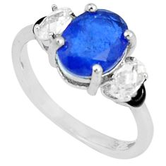 3.93cts sapphire (lab) topaz enamel 925 silver solitaire ring size 7.5 c23606