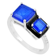 6.03cts sapphire (lab) topaz enamel 925 silver solitaire ring size 8 c23619