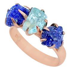 7.98cts sapphire aquamarine raw 14k rose gold handmade ring size 8 t34933