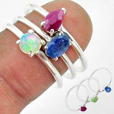 3.25cts sapphire ethiopian opal ruby 925 silver 3 rings jewelry size 6.5 t50921