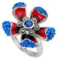 Blue sapphire quartz marcasite enamel 925 silver flower ring size 6.5 c15996