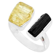 12.06cts scapolite tourmaline raw 925 silver handmade ring size 8.5 r73935