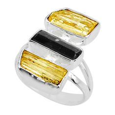 11.57cts scapolite tourmaline raw 925 sterling silver ring size 7 r73680