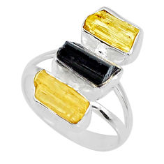 11.07cts scapolite tourmaline raw 925 sterling silver ring size 8 r73676