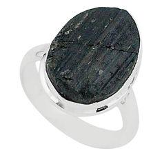 Schorl grounding black tourmaline raw 925 sterling silver ring size 7 r96665
