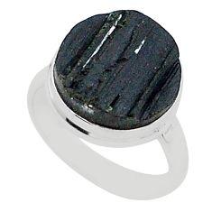 Schorl grounding black tourmaline raw 925 sterling silver ring size 8 r96673