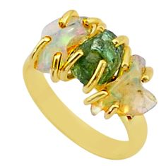 Handmade 9.80cts 3 stone apatite ethiopian opal raw 14k gold ring size 7 t38018