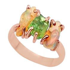 8.88cts 3 stone apatite ethiopian opal raw 14k rose gold ring size 7 t38007