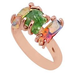 9.27cts 3 stone apatite ethiopian opal raw 14k rose gold ring size 7 t38012