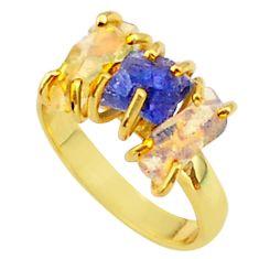 9.25cts 3 stone tanzanite ethiopian opal raw 14k gold ring size 8 t37958