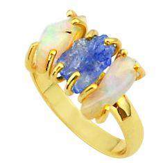 9.77cts 3 stone tanzanite ethiopian opal raw 14k gold ring size 9 t37952