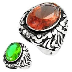 925 silver 14.71cts green alexandrite (lab) solitaire mens ring size 10.5 c11193