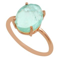 Silver 4.89cts aqua aquamarine raw solitaire 14k rose gold ring size 10 t51255
