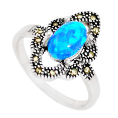Silver 2.21cts australian opal (lab) swiss marcasite ring size 9 a92860 c24496
