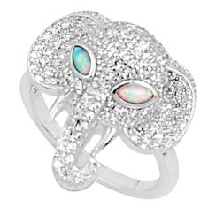 Silver 2.85cts australian opal (lab) topaz elephant ring size 8 a95963 c24625