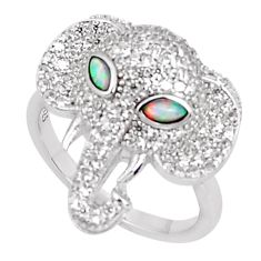 Silver 2.74cts australian opal (lab) topaz elephant ring size 8 a95970 c24624