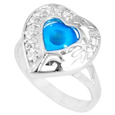 Silver 3.83cts blue evil eye talismans topaz heart ring size 6.5 a94792 c24899