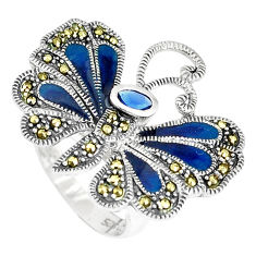 925 silver blue sapphire (lab) marcasite enamel butterfly ring size 7 c16285
