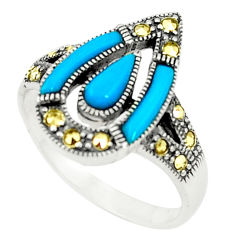 925 silver blue sleeping beauty turquoise fine marcasite ring size 6.5 c17558