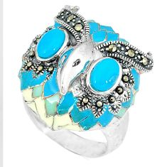 925 silver blue sleeping beauty turquoise owl ring jewelry size 6.5 c16293