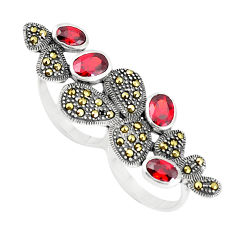 925 silver 5.76cts red garnet quartz oval two finger couple ring size 7 c16003