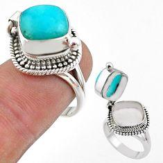 Silver 5.42cts green peruvian amazonite poison box ring jewelry size 7 t45417